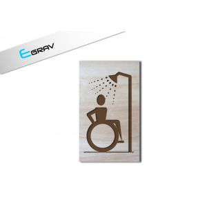 plaque douche handicap bois 60 mm par 100 mm