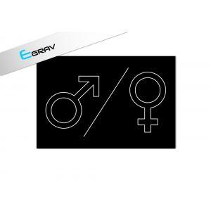 Signalétique Picto WC Homme / Femme Ligne 12x8cm