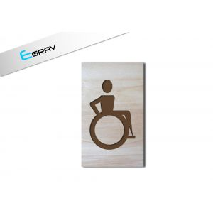 Plaque wc handicap en bois 60 mm par 100 mm