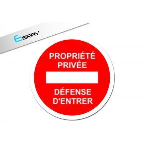Signalétique propriété privée ronde 20cm x 20cm